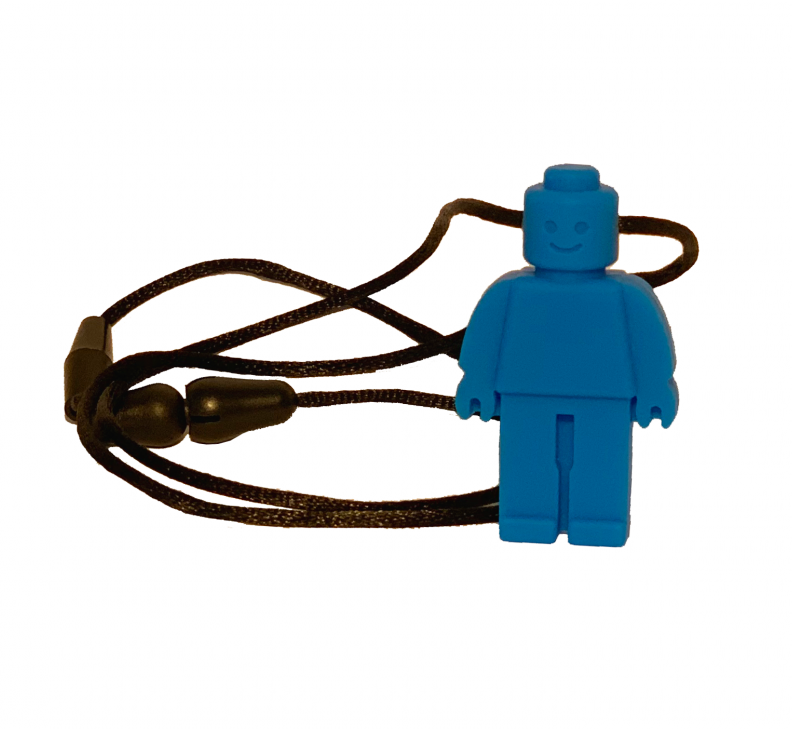 Little Blue Rubber Man Chew on Necklace