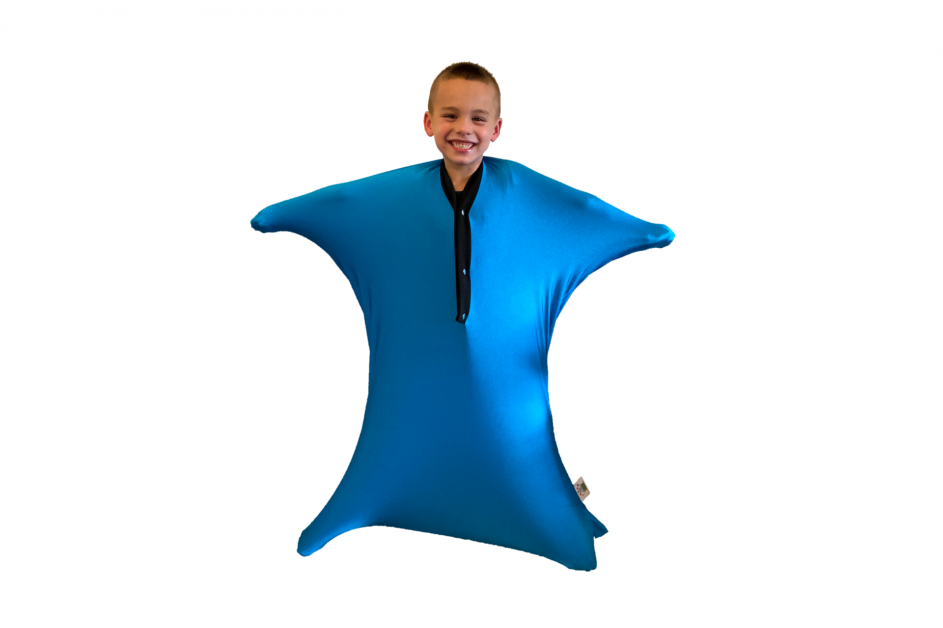 Child in body sock for proprioceptive and tactile sensory input
