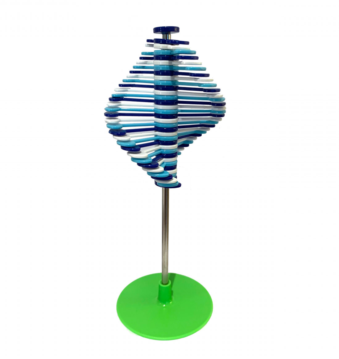 Blue and White Rotating Lollipop on Green Base