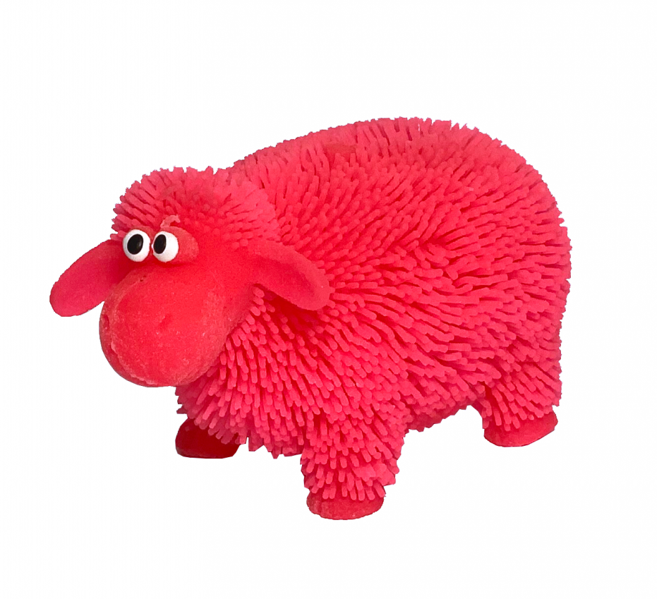Flashing sheep toy that feels nice to touch and squeeze and has a flashing light feature that is triggered when squeezed.