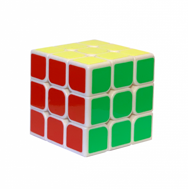 Solved puzzle cube fidget toy with red yellow and green faces showing.