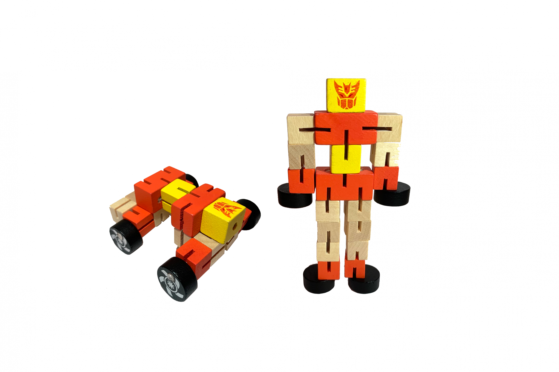 Small Transformer wooden sensory toy for tactile, visual and proprioceptive stimulation.
